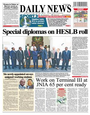 SPECIAL DIPLOMAS ON HESLB ROLL