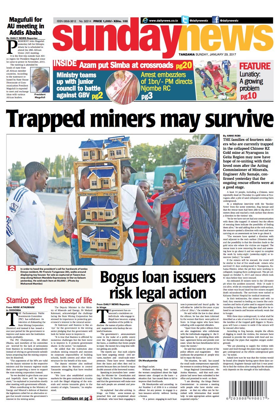 TRAPPED MINERS MAY SURVIVE