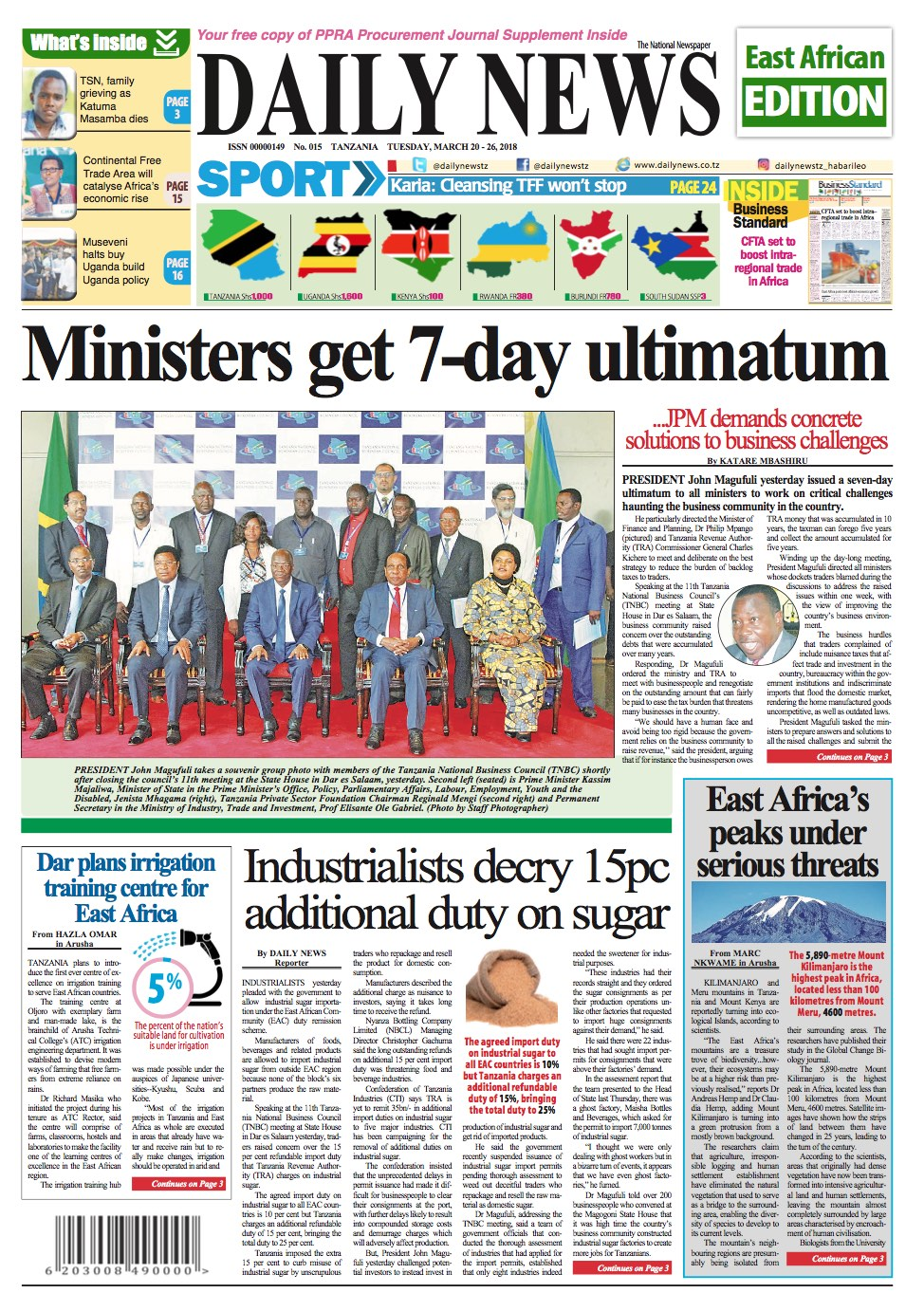 MINISTERS GET 7 DAY ULTIMATUM