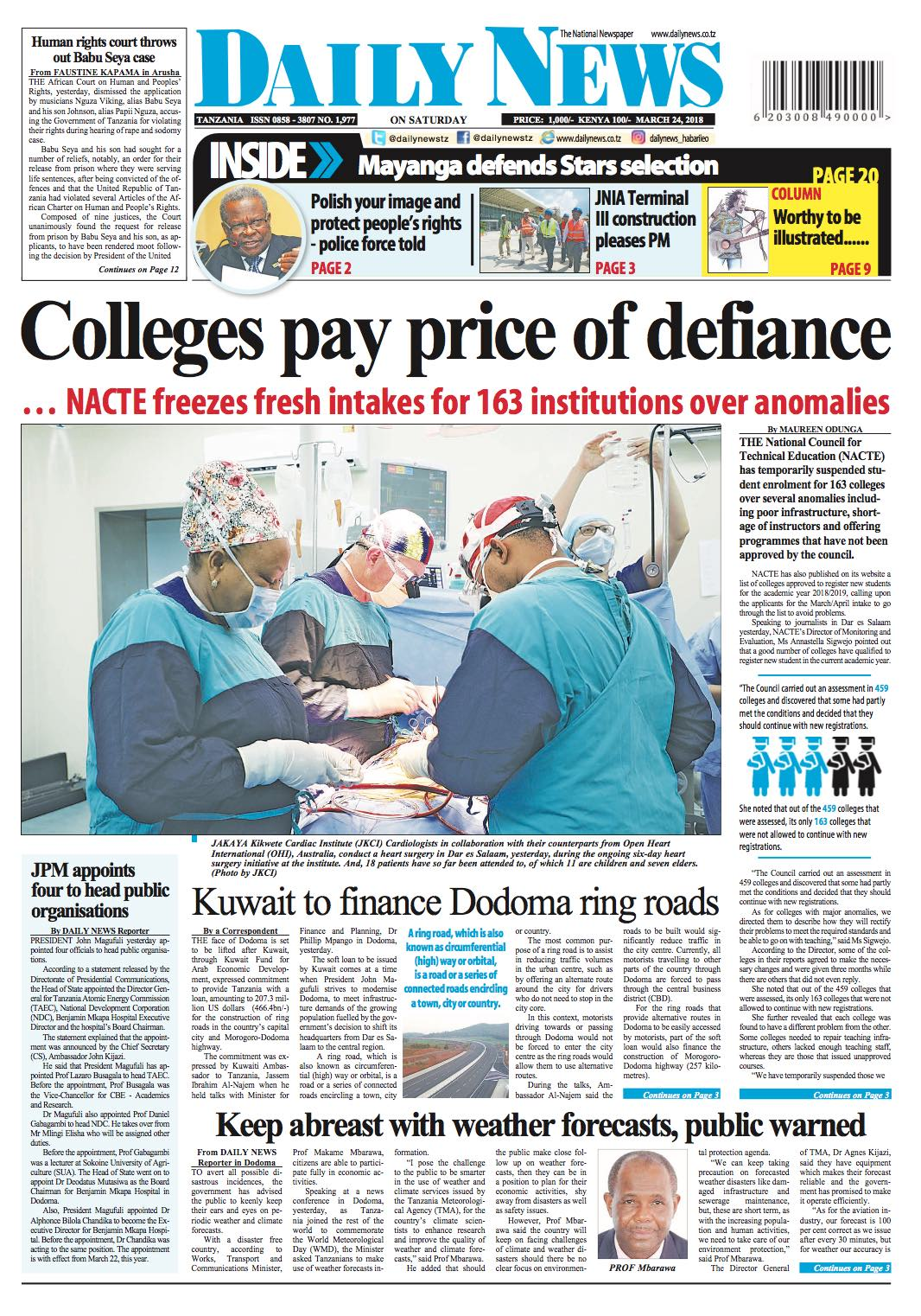 COLLEGES PAY PRICE OF DEFIANCE     NACTE FREEZES FRESH INTAKES FOR 163 INSTITUTIONS OVER ANOMALIES