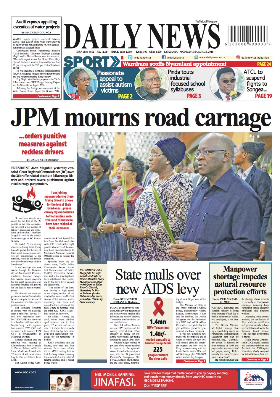 JPM MOURNS ROAD CARNAGE